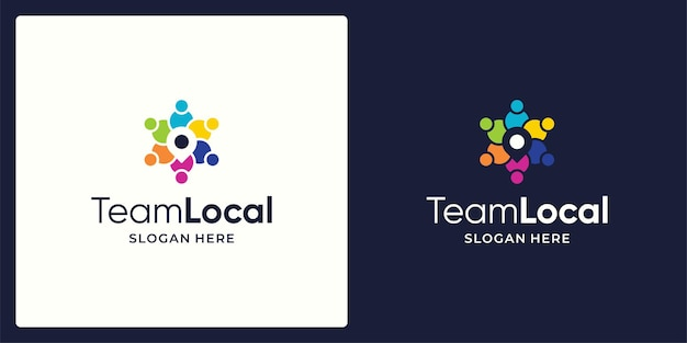 Logo de l'équipe de réseau social vecteur de conception et logo d'icône de signe d'emplacement.