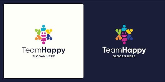Logo de l'équipe de réseau social vecteur de conception et logo de sourire.