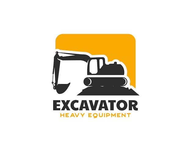 Logo d'équipement lourd d'excavatrice. modèle de conception de logo de pelle sur chenilles