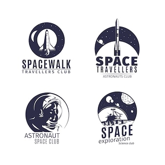 Logo de l'espace dans un style rétro