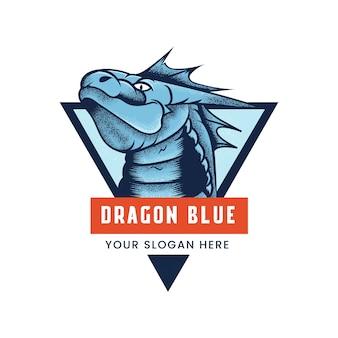 Logo esport bleu dragon