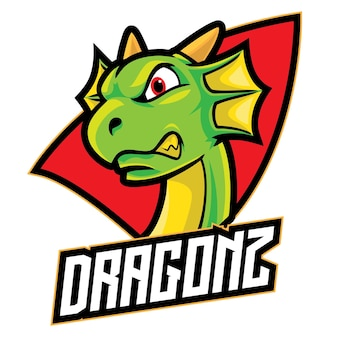 Logo esport cartoon dragon isolé sur blanc