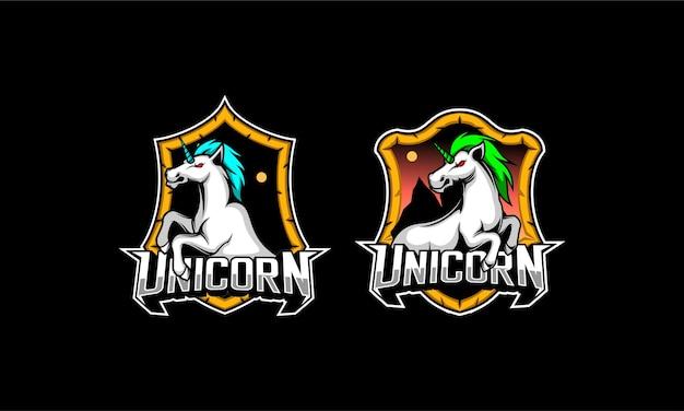 Logo esport cheval licorne