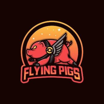 Logo d'esport de cochon volant