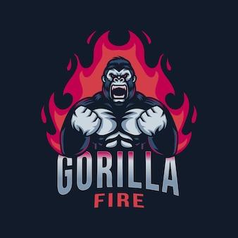 Logo esport de feu de gorille