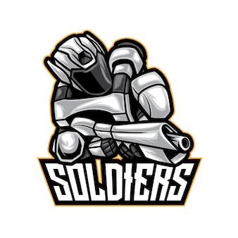 Logo esport guerrier blanc soldat