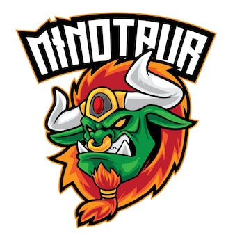 Logo esport guerrier minotaure isolé sur blanc