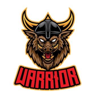 Logo esport guerrier sanglier