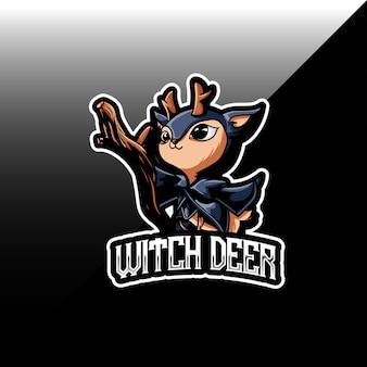 Logo esport avec icône de caractère cerf sorcière