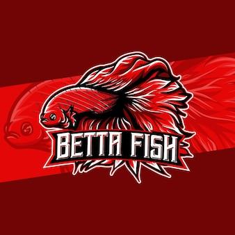 Logo esport avec icône de caractère de poisson betta