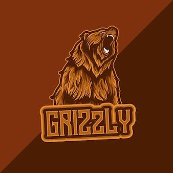 Logo esport avec icône de personnage grizzly