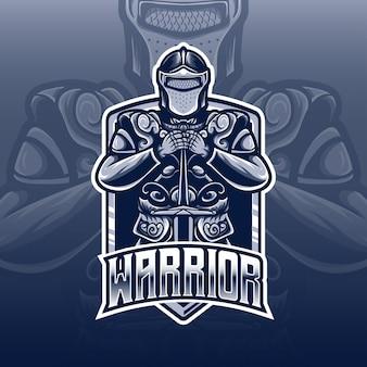 Logo esport avec icône de personnage de guerrier