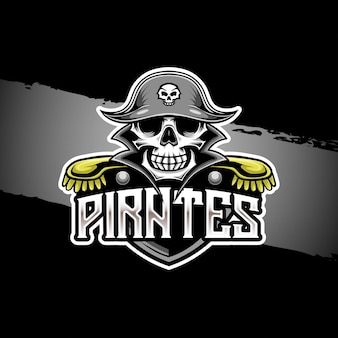 Logo esport avec icône de personnage de pirate