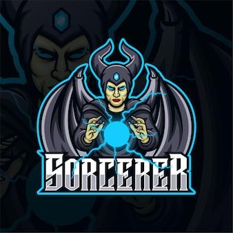 Logo d'esport de jeu de mascotte de sorcier