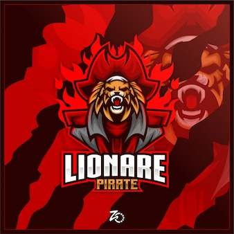 Logo Esport De Jeu De Pirate Rouge Vecteur Premium