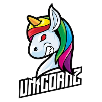 Logo esport licorne isolé sur blanc
