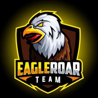 Logo esport mascotte aigle rugissement