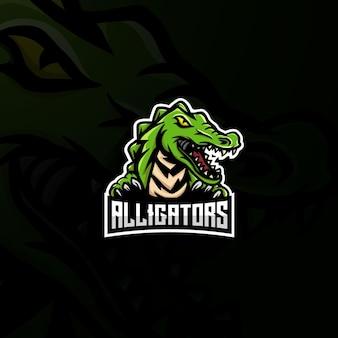 Logo esport de mascotte d'alligator.