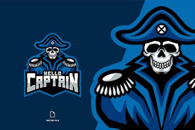 Logo esport de mascotte de capitaine de crâne de pirate