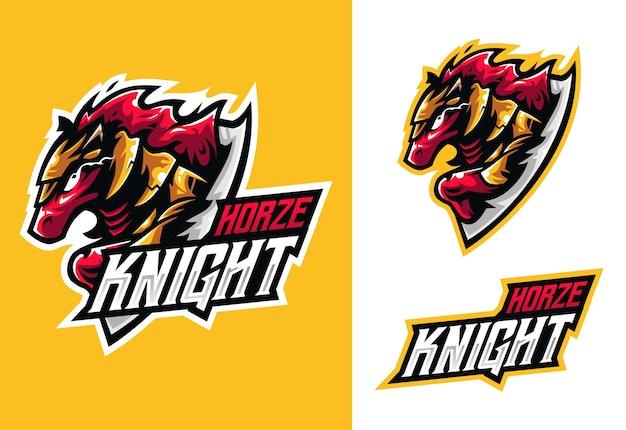 Logo esport mascotte cheval chevalier