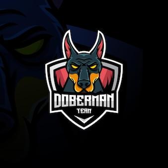 Logo esport mascotte doberman.