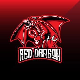 Logo esport avec mascotte de dragon rouge