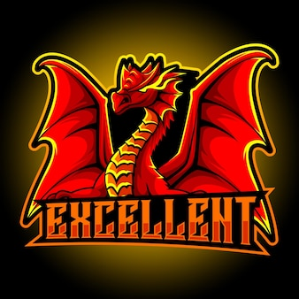 Logo esport mascotte dragon rouge