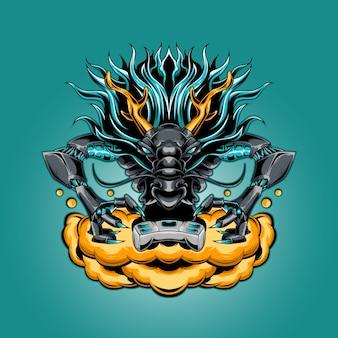 Logo esport mascotte dragon