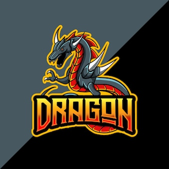 Logo esport avec mascotte de dragon