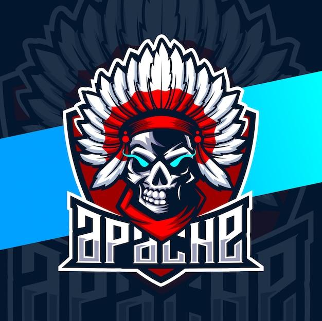 Logo esport de la mascotte du crâne apache