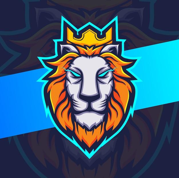 Logo esport de la mascotte du roi lion