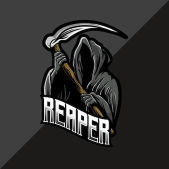 Logo esport avec mascotte de faucheuse