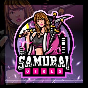 Logo d'esport de mascotte de filles de samouraï