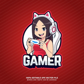 Logo esport mascotte gamer modifiable