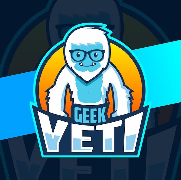 Logo esport de la mascotte geek yeti