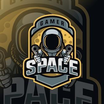 Logo d'esport de mascotte de guerre spatiale