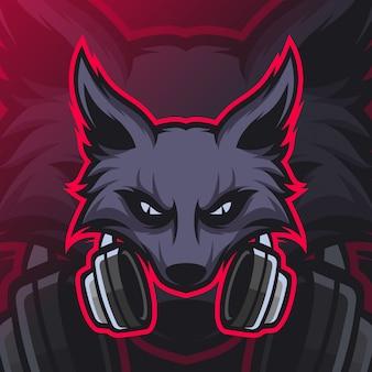 Logo d'esport de mascotte de jeu de loups