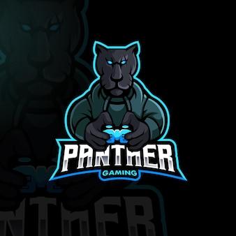 Logo esport de mascotte de joueur de panthère