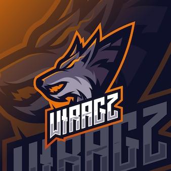 Logo esport mascotte loup