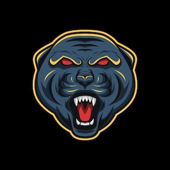 Logo esport de la mascotte de la panthère noire