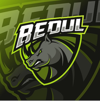 Logo esport mascotte rhinocéros