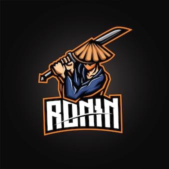 Logo esport mascotte ronin