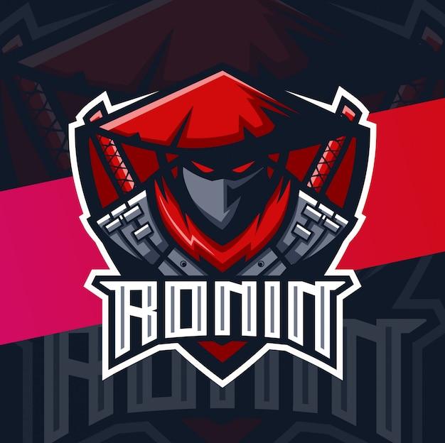 Logo esport de la mascotte des samouraïs ronin