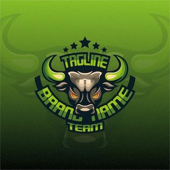 Logo esport mascotte taureau vert