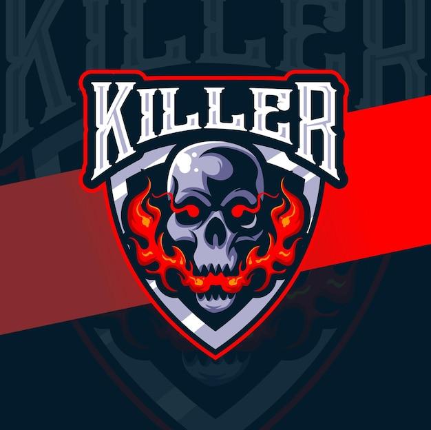 Logo Esport De Mascotte De Tête De Mort De Tueur De Tête De Mort Pour Le Tatouage De Jeu Et D'art Vecteur Premium