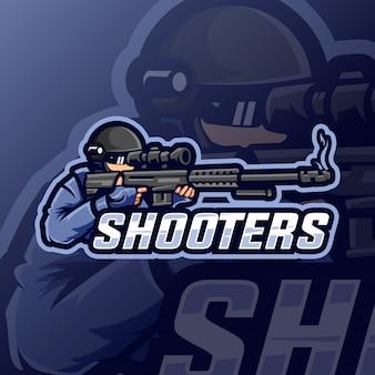 Logo esport de la mascotte des tireurs