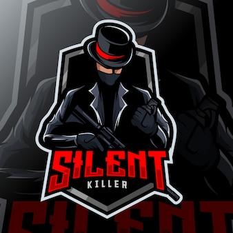 Logo d'esport de mascotte de tueur de mafia