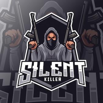 Logo esport mascotte tueur silencieux