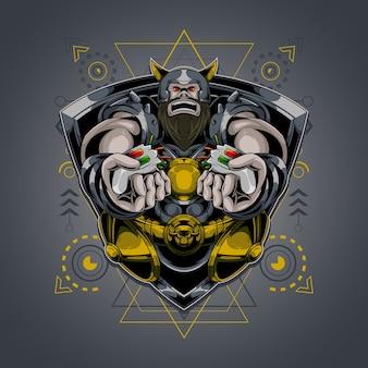 Logo esport mascotte viking
