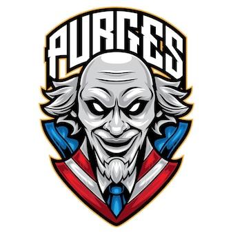 Logo esport de masque de vieil homme
